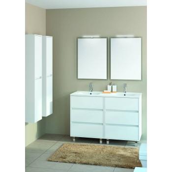 Mobile bagno 1200 in legno laccato bianco lucido con lavabo Arenys
