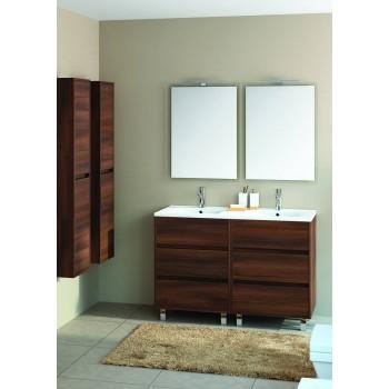 Mobile bagno 1200 in legno marrone Acacia con lavabo Arenys