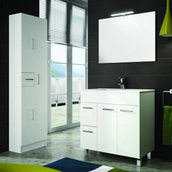 Meuble de salle de bain 80 cm blanc avec lavabo à encastrer collection Terra