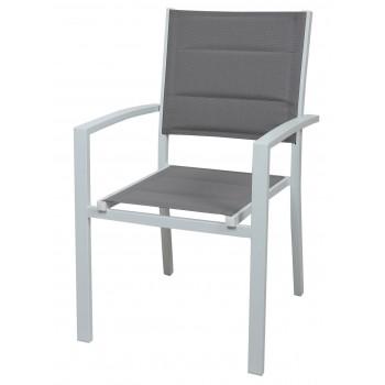 Sedia Segesta in alluminio bianco e tessuto grigio