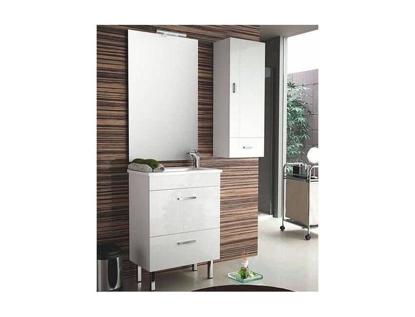 Mobile bagno 600 in legno laccato bianco lucido con lavabo Almagro