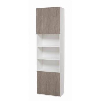 Colonna 60x210 in legno bianco con ante larice grigio
