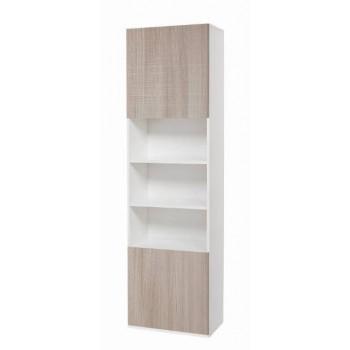 Colonna 60x210 in legno bianco con ante olmo