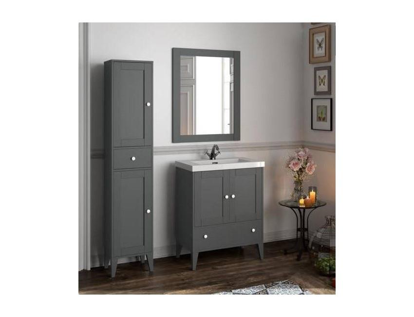 Mobile bagno 900 in legno grigio opaco con lavabo Boheme