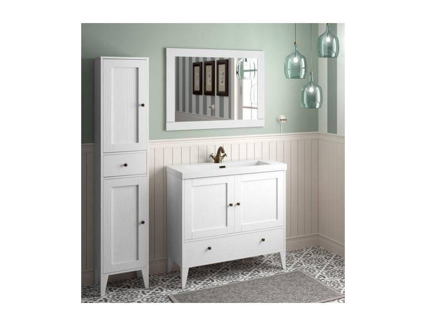 Mobile bagno 900 in legno bianco vintage con lavabo Boheme