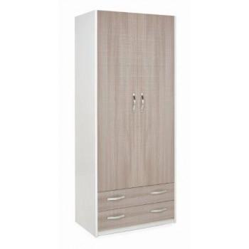 Armadio 90x210 in legno bianco con 2 ante e 2 cassetti olmo