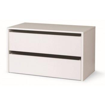 Cassettiera per armadio in legno bianco 2 cassetti