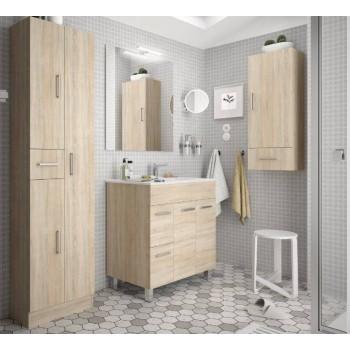 Mobile bagno 800 in legno marrone Caledonia con lavabo Terra