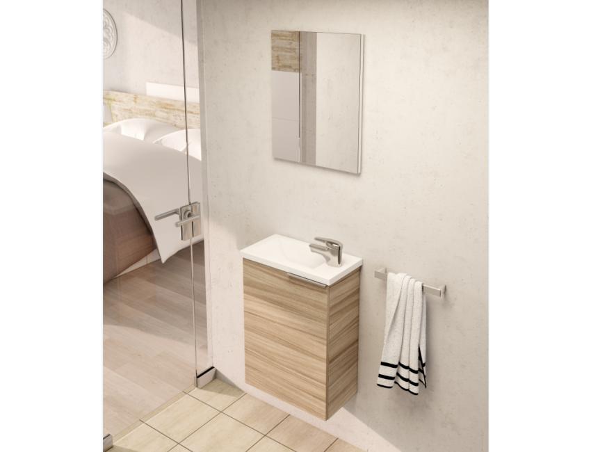 Mobile bagno sospeso 40 compact colore nature con specchio