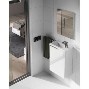 Composizione bagno da 40 cm colore Bianco laccato con mobile bagno sospeso, specchio e lavabo