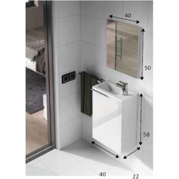 Mobile Bagno A Specchio.Mobile Bagno Sospeso 40 Cm Laccato Bianco Con Specchio 305005bo