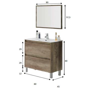 Composizione bagno da 80 cm con mobile bagno sospeso colore Nordik, specchio e lavabo