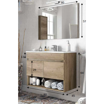 Composizione bagno Cotton da 80 cm con mobile sospeso colore Nordik, specchio e lavabo