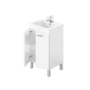 Composizione bagno Koncept da 80 cm con mobile bianco lucido, specchio e lavabo