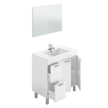 Mobile bagno a terra Aktivia 80 cm bianco lucido con specchio