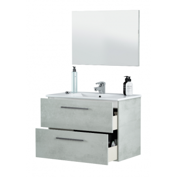 Mobile bagno sospeso Aruba 80 cm Cemento con specchio