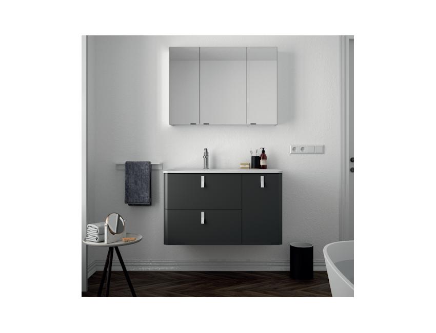 Mobile bagno sospeso 90 cm antracite opaco con specchio 24603