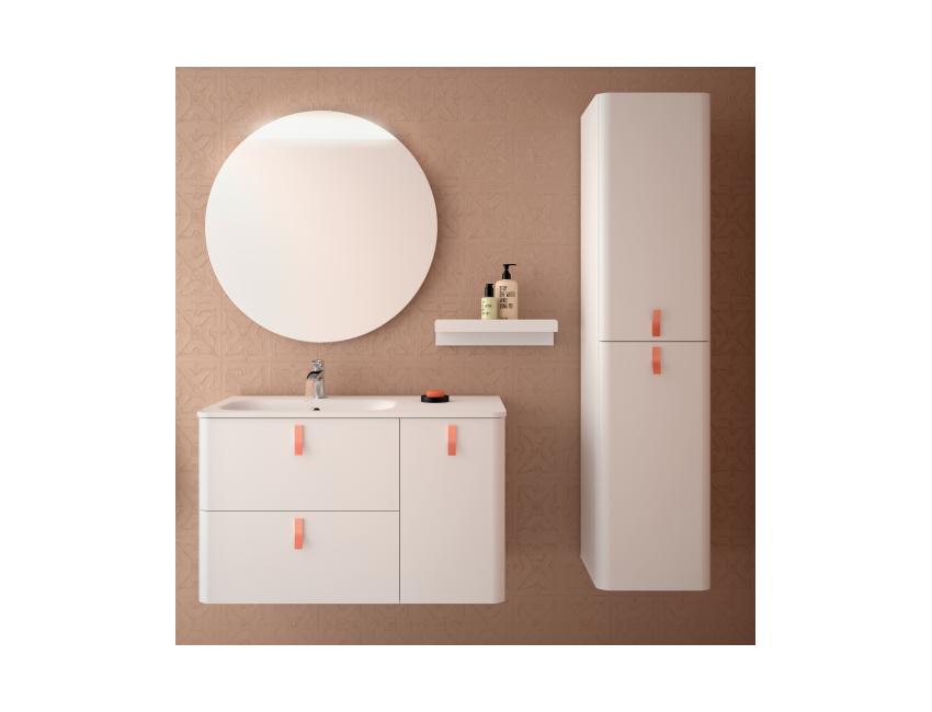 Mobile bagno sospeso 90 cm bianco opaco con specchio 24604