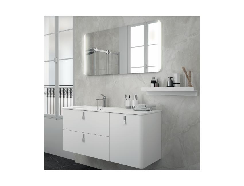 Mobile bagno sospeso 120 cm bianco opaco con specchio