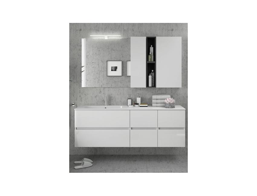 Mobile bagno sospeso 160 cm bianco lucido con specchio