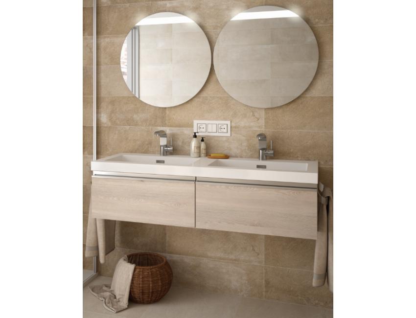 Mobile bagno sospeso 120 cm colore naturale con specchio