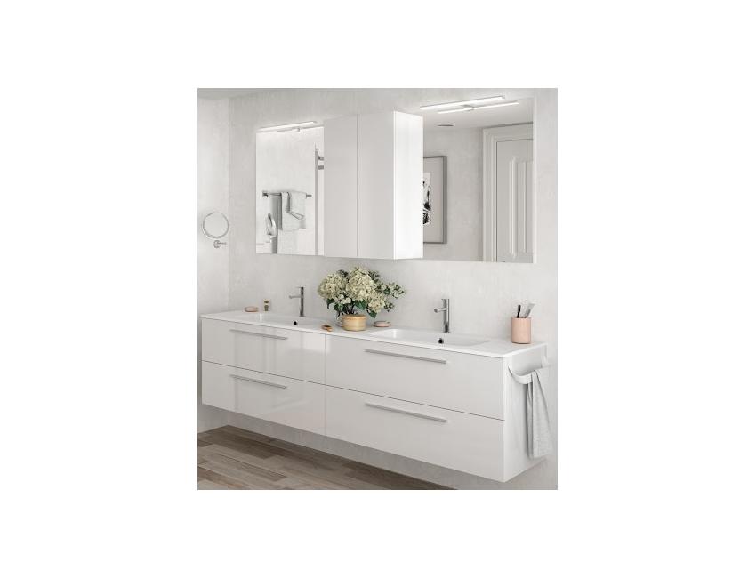 Mobile bagno sospeso 200 cm bianco lucido con specchio 23275