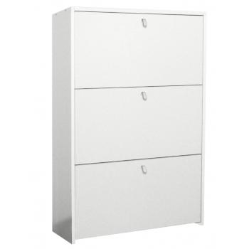 Scarpiera 110 cm bianco 3 cassetti