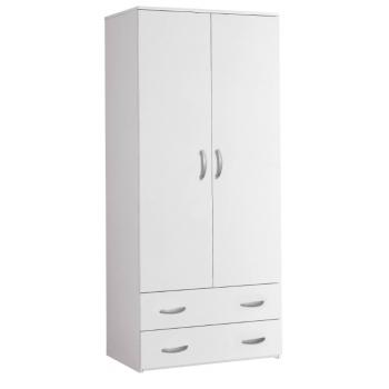 Armadio 81x175 cm Bianco 2 ante e cassetti