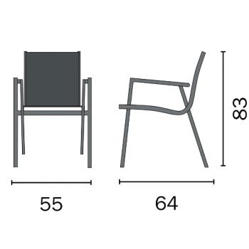 Sedia Pienza in alluminio antracite con braccioli