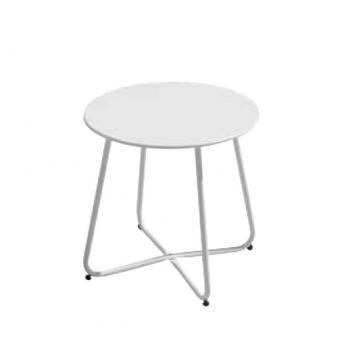 Tavolino rotondo 45 cm in ferro epoxy bianco