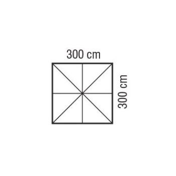 Ombrellone quadrato 3x3 m ecru in legno