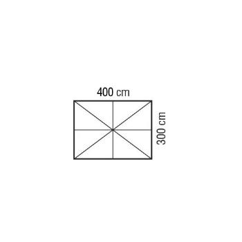 Ombrellone quadrato 4x3 m ecru in legno