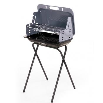 Barbecue a valigetta in acciaio con paravento laterale