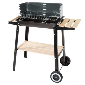 Barbecue a carbonella in acciaio con ripiano e ruote