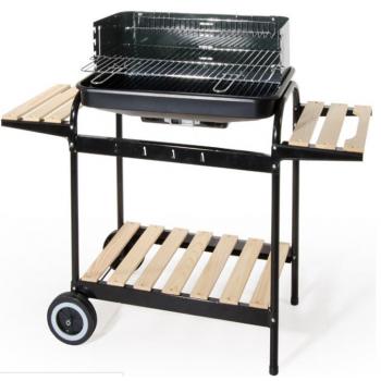 Barbecue a carbonella in acciaio con carrello a 2 ripiani