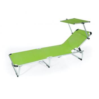 Lettino Viareggio verde in alluminio con parasole