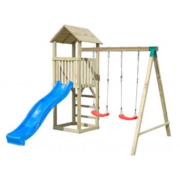 Torre da gioco con altalena e scivolo