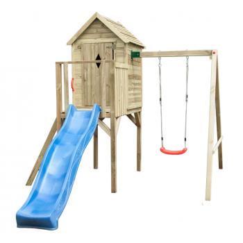 Torre casetta da gioco con altalena e scivolo