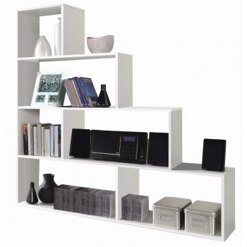 Libreria decorativa 145 cm bianco lucido 6 ripiani