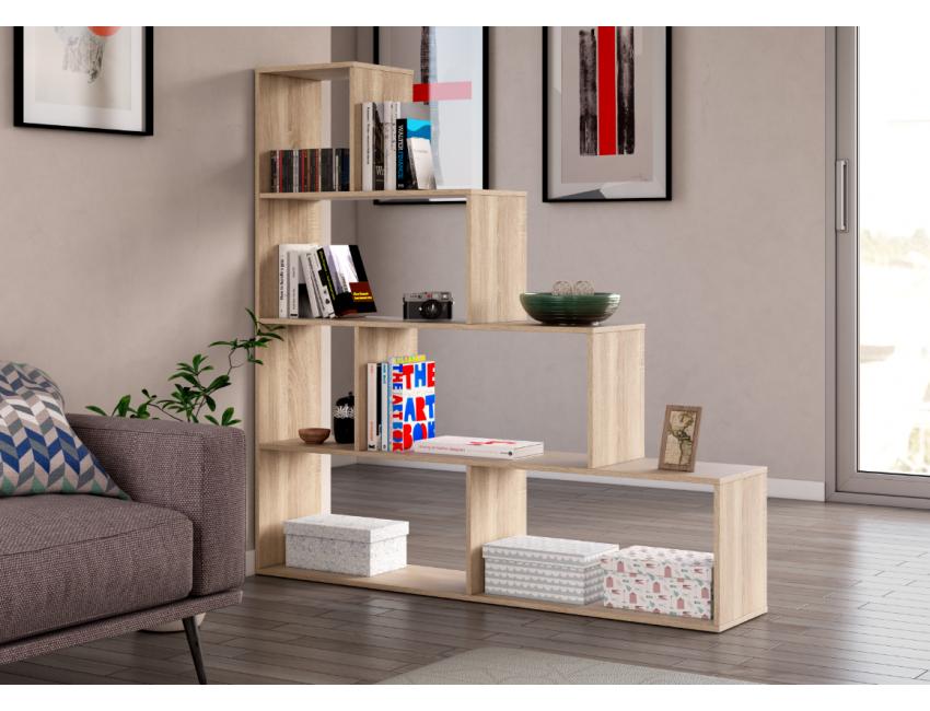 Libreria decorativa 145 cm rovere chiaro 6 ripiani