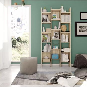Libreria alta decorativa 192 cm Rovere chiaro