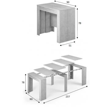 Tavolo multifunzione allungabile da 51 a 237 cm Cemento