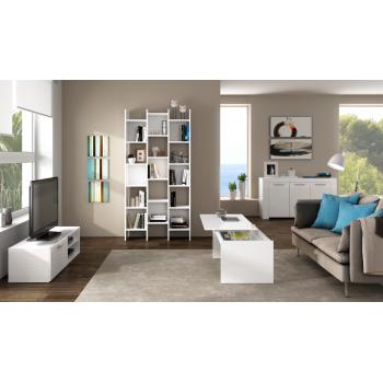 Mobile soggiorno porta Tv Kikua 130 cm Bianco Lucido con un'anta ed uno scaffale