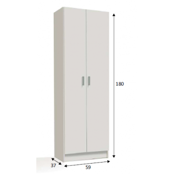 Armadio multiuso 180 cm Bianco opaco con due ante e tre ripiani interni