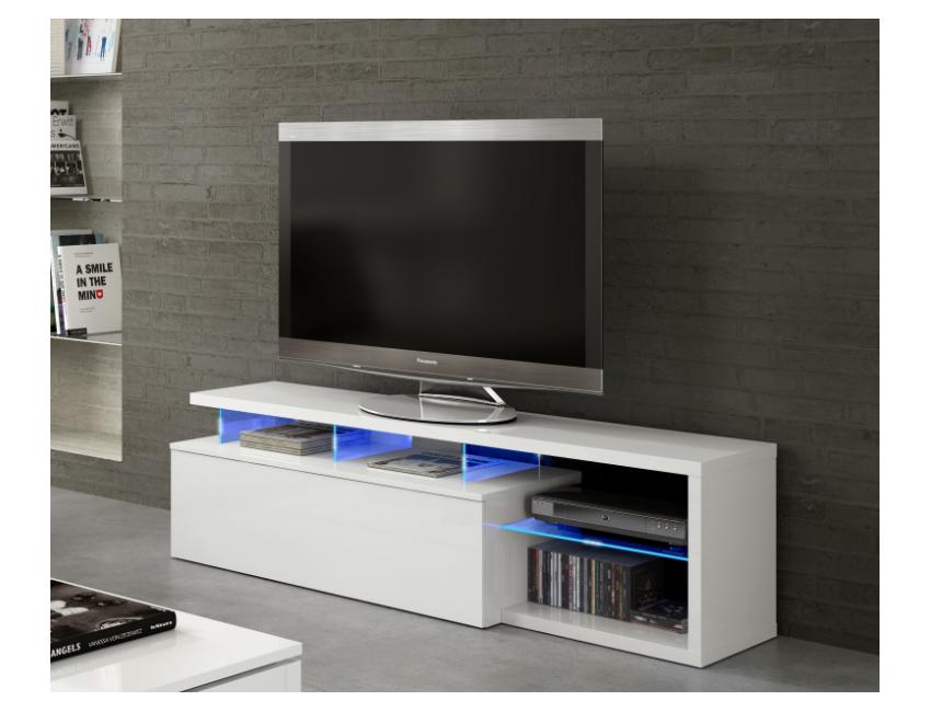 Mobile soggiorno porta Tv Blue tech 150 cm Bianco lucido con un\'anta ...