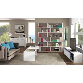 Mobile soggiorno porta Tv Blue tech 150 cm Bianco lucido con un'anta e luci LED