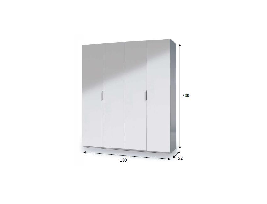 Armadio 180x200H cm Bianco lucido con quattro ante Colore ...