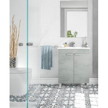 Mobile bagno a terra 60 cm Cemento con specchio