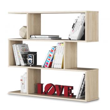 Libreria bassa 97 cm Rovere chiaro con tre ripiani
