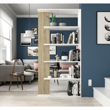 Libreria 180 cm Bianco artik e Rovere canadian con cinque ripiani